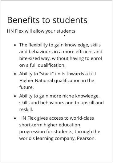 The benefits of HN Flex to students
